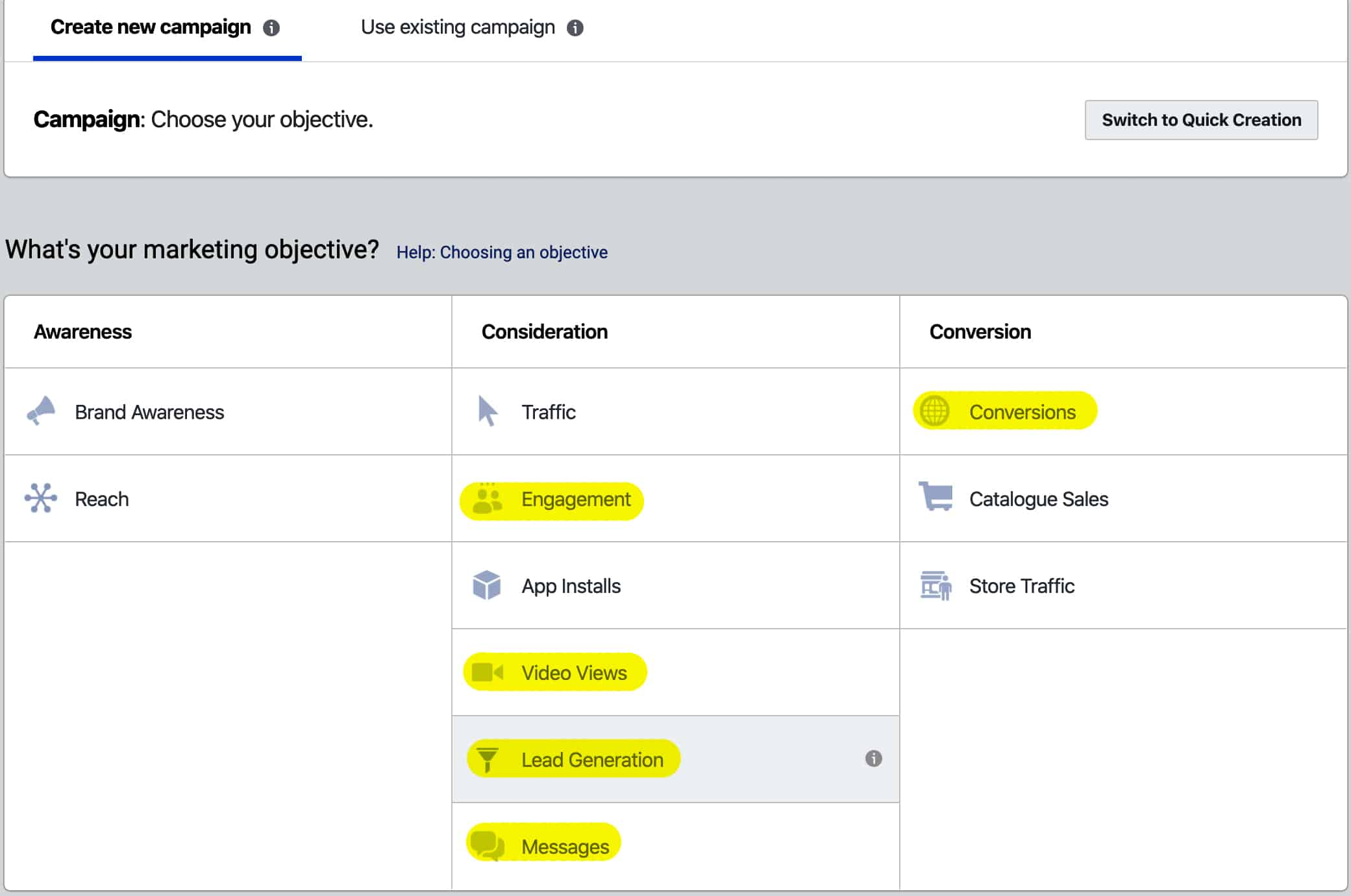 Facebook advertising funnel objectives